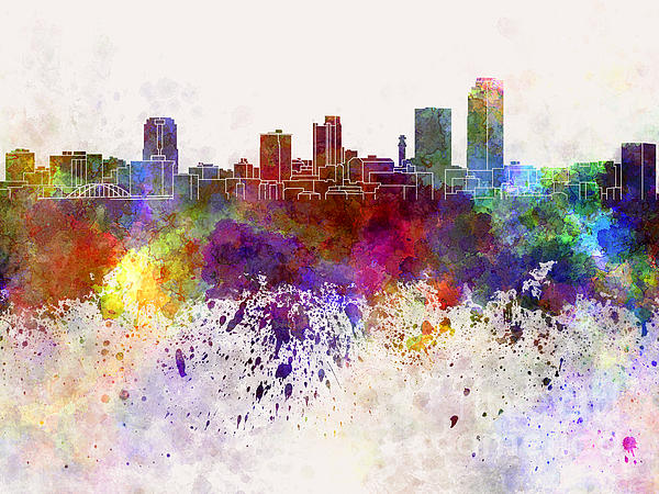 Little Rock Skyline Painting - Little Rock Skyline In Watercolor Background by Pablo Romero
