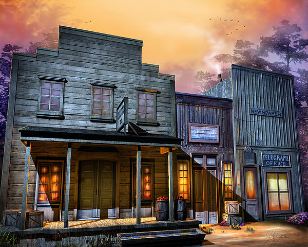 Western Digital Art - Little Town by Joel Payne