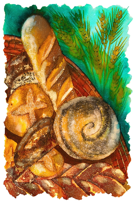 Loaves Of Bread Drawing by Tess Stone