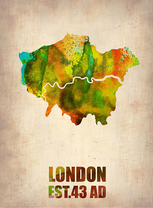 London Digital Art - London Watercolor Map 1 by Naxart Studio