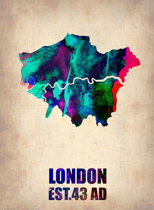 London Painting - London Watercolor Map 2 by Naxart Studio