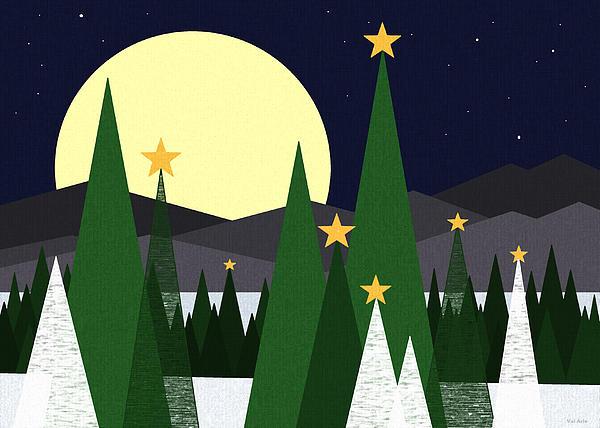 Landscape Digital Art - Long Night Moon by Val Arie