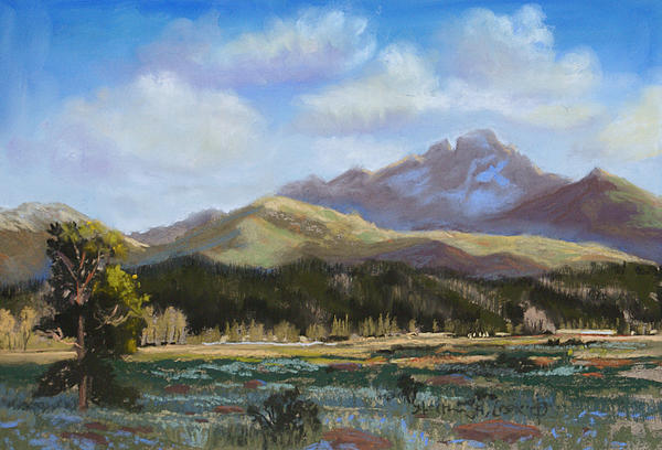 Long's Peak Painting - Longs Light by Heather Coen