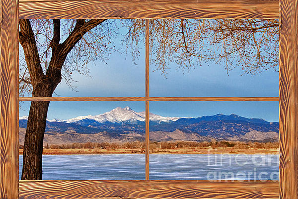 Windows Photograph - Longs Peak Across The Lake Barn Wood Picture Window Frame View by James BO  Insogna