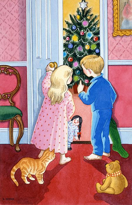 Christmas Painting - Look At The Christmas Tree by Lavinia Hamer
