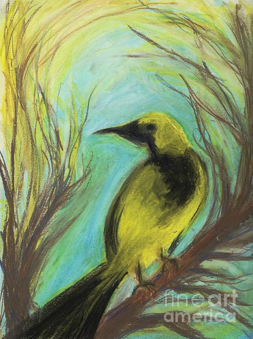 Bird Pastel - Looking Back by Paula Cork