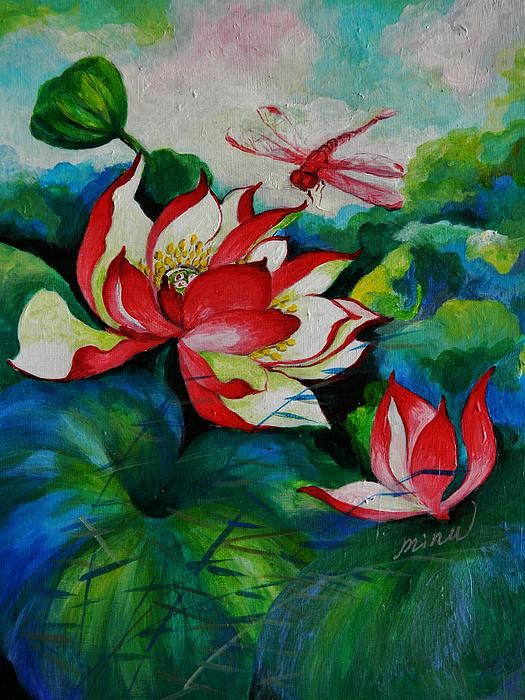 Plant Life Painting - Lotus Dragon Fly A by Min Wang