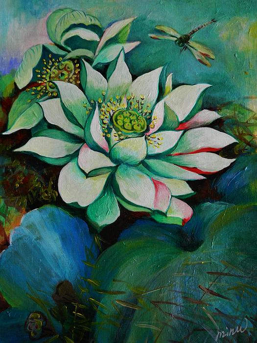 Plant Life Painting - Lotus Dragon Fly C by Min Wang
