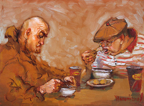 Lunchtime Painting - Lunchtime At Tim  by Ylli Haruni