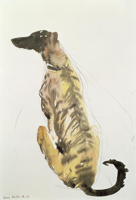 Still Life Painting - Lurcher Sitting by Lucy Willis
