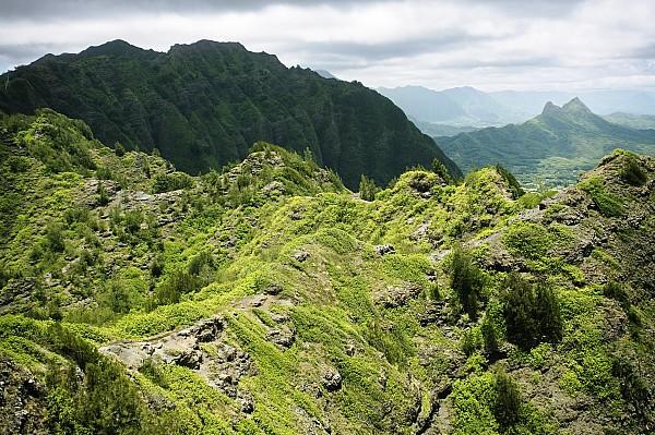 Cliff Photograph - Lush Hawaiian Mountains by Charmian Vistaunet