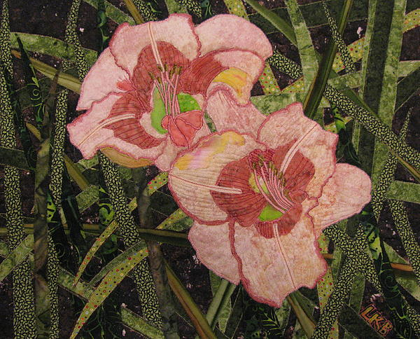 Pink Flowers Tapestries - Textiles Tapestry - Textile - Lyndas Daylilies by Lynda K Boardman