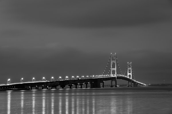 Dusk Photograph - Mackinac Bridge Black And White by Sebastian Musial
