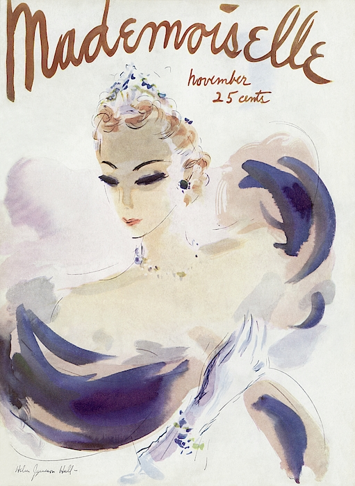 Mademoiselle Cover Featuring A Woman In A Gown Photograph by Helen Jameson Hall
