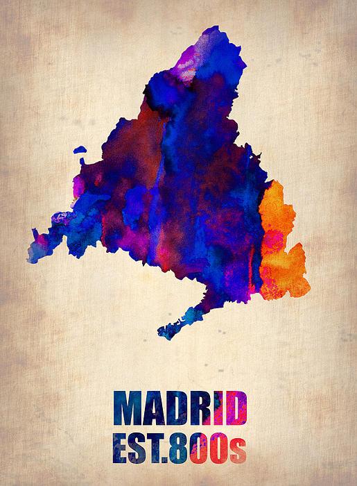 Madrid Painting - Madrid Watercolor Map by Naxart Studio