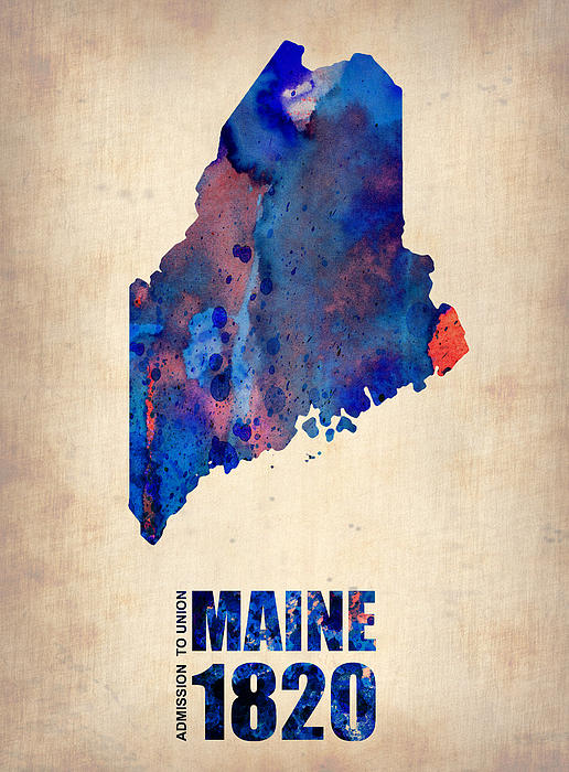Maine Painting - Maine Watercolor Map by Naxart Studio
