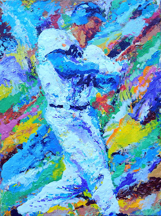 Baseball Painting - Major League Player by Charles Ambrosio