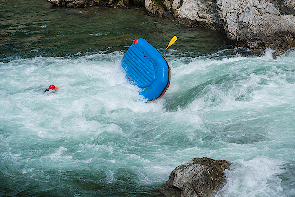 Man Floating In A River After His Raft Flipped Over While White Water River Rafting Photograph by Tdub303