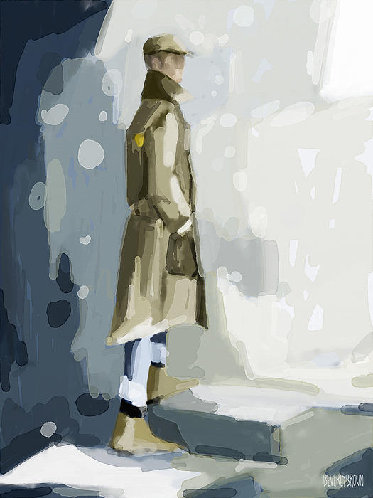 Blue Painting - Man In A Trench Coat Fashion Illustration Art Print by Beverly Brown Prints
