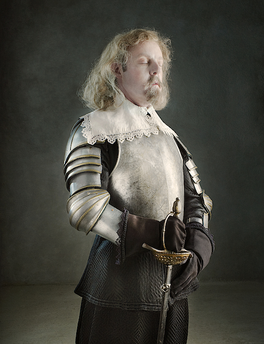 Man In Armour With Eyes Closed Photograph by Zena Holloway