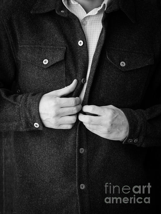 Man Photograph - Man Unbuttoning His Shirt by Edward Fielding