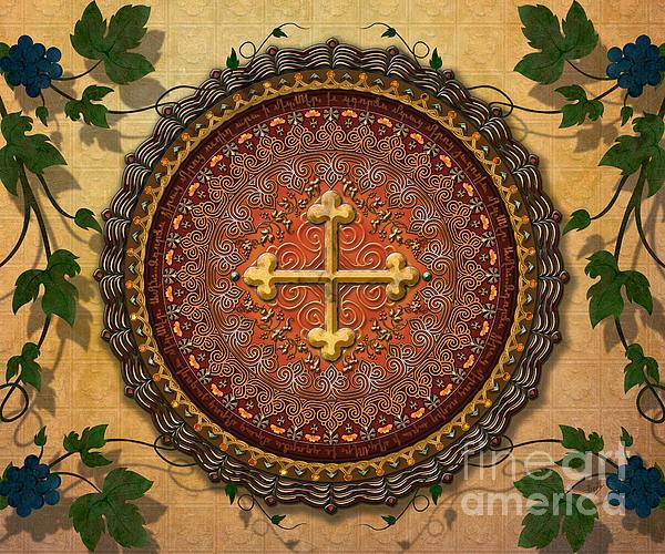 Mandala Digital Art - Mandala Armenian Cross Sp by Bedros Awak