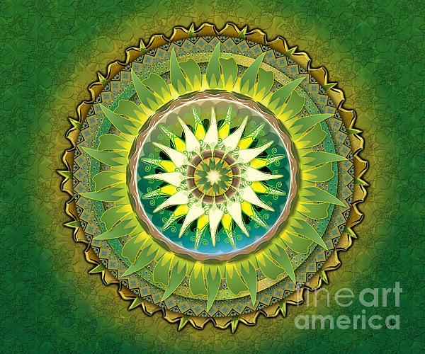 Mandala Digital Art - Mandala Green Sp by Bedros Awak