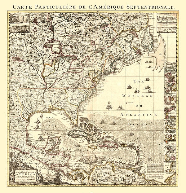 Antique Digital Art - Map New World by Gary Grayson