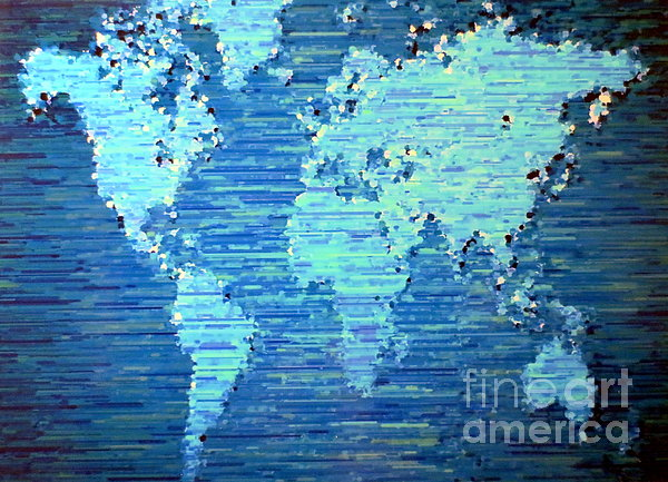 Maps Painting - Map Of The World by Susan Waitkuweit