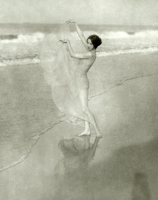 Margaret Severn On A Beach Photograph by Arnold Genthe