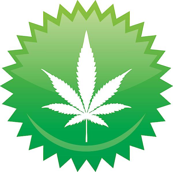 Marijuana Leaf Emblem Drawing by RobinOlimb