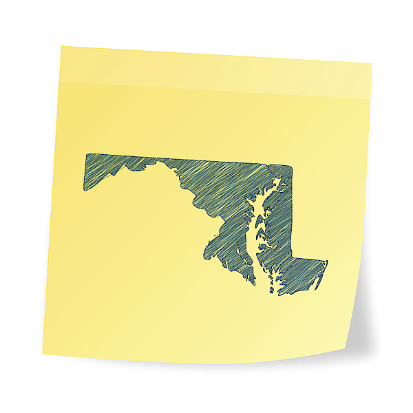 Maryland Map On Sticky Note With Scribble Effect Drawing by Bgblue