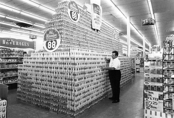 Retro Images Archive Photograph - Massive Beer Display by Retro Images Archive