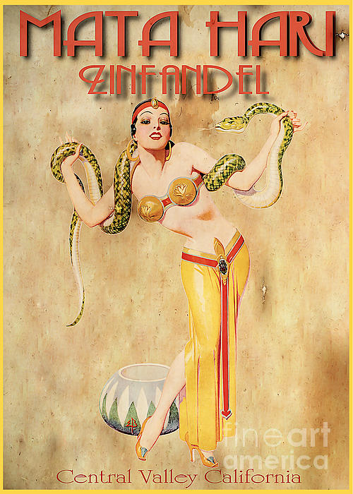 Wine Painting - Mata Hari Vintage Wine Ad by Cinema Photography