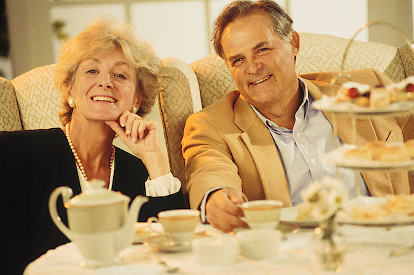 Mature Couple Dining Out Photograph by Comstock