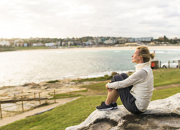 Mature Woman Enjoying The Ocean View Sydney Australia Photograph by OwenPrice