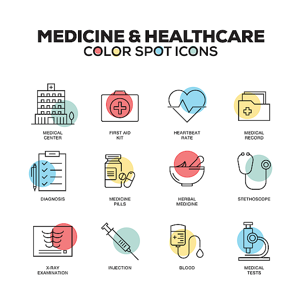Medicine And Healthcare Icons. Vector Line Icons Set. Premium Quality. Modern Outline Symbols And Pictograms. Drawing by Cnythzl