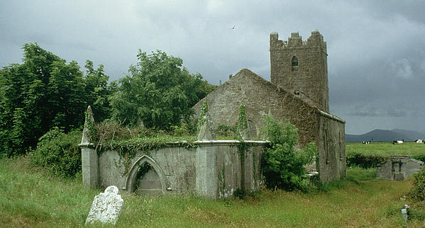 Medieval Church And Churchyard (photo) Site; Remains; Ruin; Ruined; Celtic; Rural; Abandonded; Gravestone; Irish; Goth Painting - Medieval Church And Churchyard by Unknown