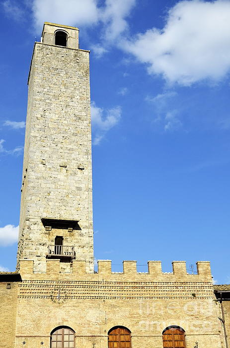 Battlement Photograph - Medieval Tower In San Gimignano by Sami Sarkis