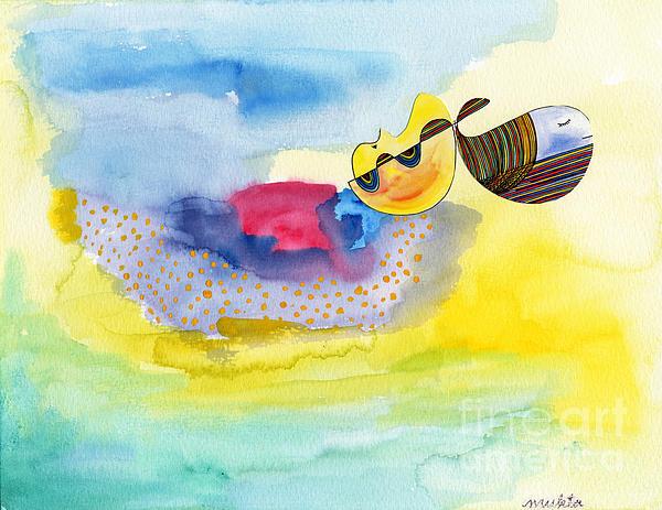Whale Painting - Meditating Humpback Whale In Ocean by Mukta Gupta