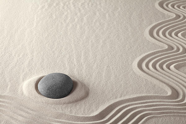 Meditation Stone Photograph - Meditation Stone Zen Rock Garden by Dirk Ercken