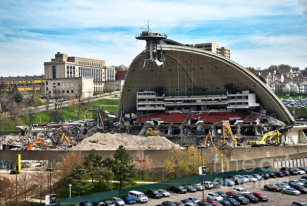 Bulldozers Photograph - Mellon Arena Partially Deconstructed by Amy Cicconi