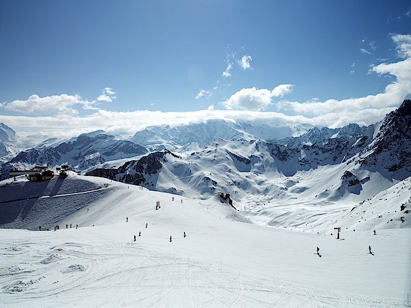 Meribel, France, Ski Slope In Mountains, Elevated View Photograph by Nick Daly