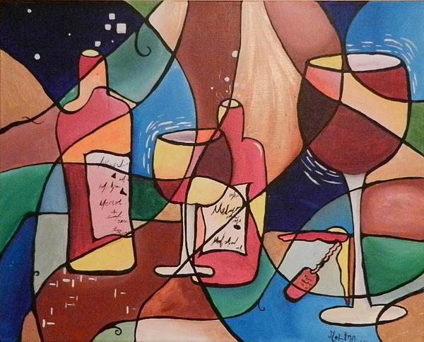 Wine Painting - Merlot by Juan Molina