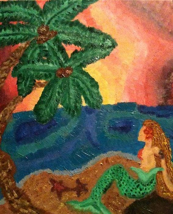 Mermaid Painting - Mermaid Beach by Oasis Tone