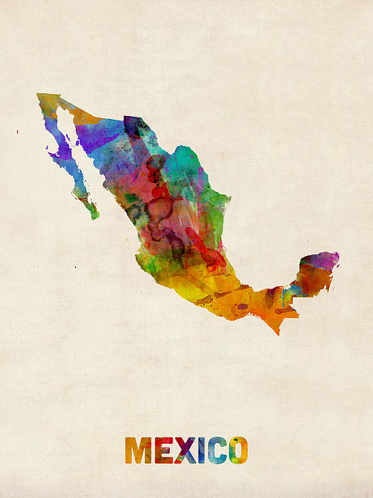 Map Print Digital Art - Mexico Watercolor Map by Michael Tompsett