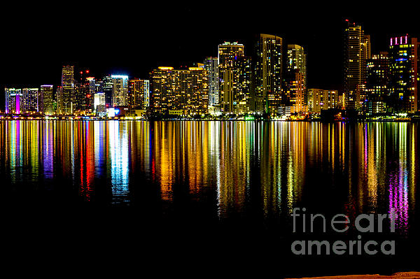 Architecture Photograph - Miami Skyline II High Res by Rene Triay Photography