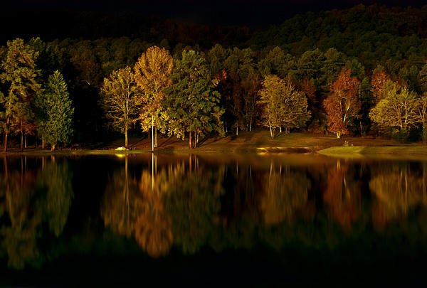 Lake Digital Art - Midnight On The Lake by Linda Unger