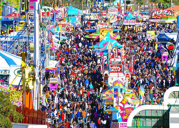 State Fair Midway Photograph - Midway Crowd by David Lee Thompson