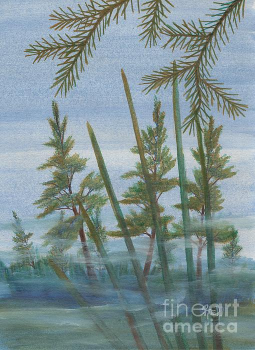 Landscape Painting - Mist In The Marsh by Robert Meszaros